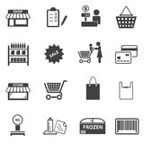Установленные значки мола и покупок рынка Стоковые Фото