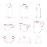 Установленные значки молока Стоковая Фотография