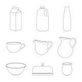 Установленные значки молока Стоковые Изображения