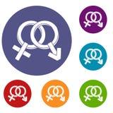 Установленные значки мужских и женщины знаков Стоковое Изображение RF