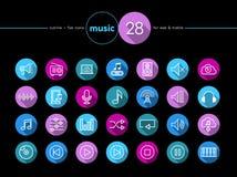 Установленные значки музыки плоские Стоковые Фотографии RF