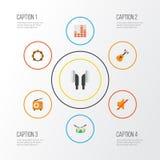 Установленные значки мультимедиа плоские Собрание ритма, наушника, широковещания и других элементов Также включает символы Стоковые Изображения RF