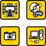Установленные значки мультимедиа Стоковое Изображение