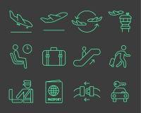 Установленные значки навигации авиапорта бесплатная иллюстрация