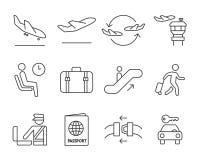 Установленные значки навигации авиапорта иллюстрация вектора