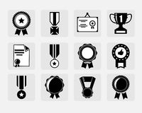 Установленные значки награды Стоковые Изображения RF