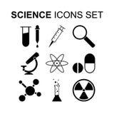Установленные значки науки также вектор иллюстрации притяжки corel Стоковое Изображение RF
