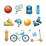 Установленные значки оборудования спорта лета плоские Стоковая Фотография