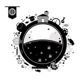 Установленные значки образования вектора черные Стоковая Фотография RF