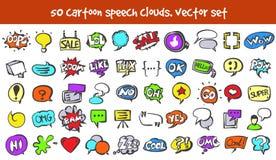 Установленные значки облаков речи doodle вектора Стоковые Изображения RF