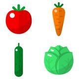 Установленные значки овощей плоские Стоковые Фотографии RF