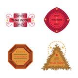 Установленные значки логотипа значка тайской еды пряные Стоковая Фотография