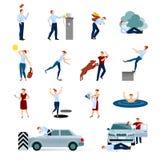 Установленные значки опасностей ушибов аварий декоративные бесплатная иллюстрация