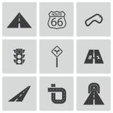 Установленные значки дороги вектора черные Стоковая Фотография