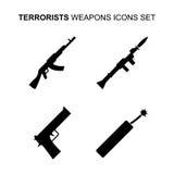 Установленные значки оружий террориста также вектор иллюстрации притяжки corel Стоковые Изображения RF