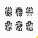 Установленные значки отпечатка пальцев Стоковые Изображения