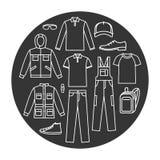 Установленные значки одежд деятельности ` s людей Стоковая Фотография