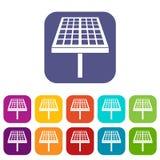 Установленные значки панели солнечной энергии Стоковое фото RF