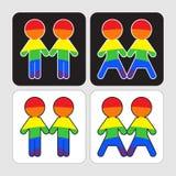 Установленные значки пар гея и лесбиянка Стоковое Изображение