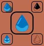 Установленные значки падения воды Стоковые Фотографии RF