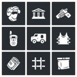 Установленные значки перехода банка и денег безопасностью также вектор иллюстрации притяжки corel Стоковое Фото