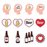 Установленные значки пива человека любящие Стоковая Фотография RF