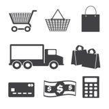 Установленные значки покупок, Стоковое Изображение