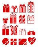 Установленные значки подарочных коробок плоские Стоковые Фото