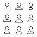 Установленные значки полной линейки абстрактного потребителя воплощения человеческого плоские Стоковая Фотография RF