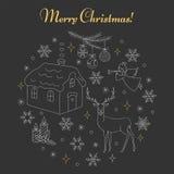 Установленные значки праздника рождества и Нового Года бесплатная иллюстрация