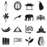 Установленные значки, простой стиль перемещения Шри-Ланки Стоковое фото RF
