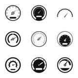 Установленные значки, простой стиль спидометра бесплатная иллюстрация
