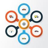Установленные значки плана автомобиля красочные Собрание штурвала, автомобиля, спорта и других элементов Также включает символы к Стоковые Изображения RF
