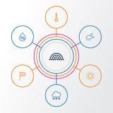 Установленные значки плана климата Собрание температуры, Солнця, Windsock и других элементов Также включает символы как Стоковое Изображение RF