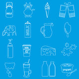 Установленные значки плана темы молока и молочного продукта Стоковое Изображение RF