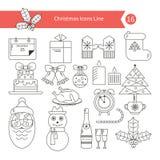 Установленные значки плана элементов рождества Стоковые Изображения RF