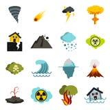 Установленные значки, плоское ctyle стихийного бедствия бесплатная иллюстрация