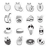 Установленные значки плодоовощ и продукта клубники Стоковые Фото