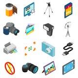 Установленные значки, равновеликий фотографии стиль 3d иллюстрация вектора