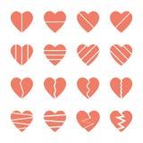 Установленные значки разбитого сердца Стоковое фото RF