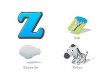 Установленные значки ребенк письма z ABC смешные: зебра, застежка-молния, Зеппелин Стоковое фото RF