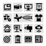 Установленные значки рекламы и маркетинга иллюстрация штока