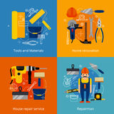 Установленные значки ремонтных услуг и реновации иллюстрация вектора