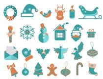 Установленные значки рождества Стоковые Фото