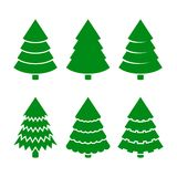 Установленные значки рождественских елок вектор Стоковая Фотография