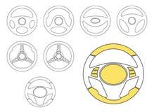 Установленные значки рулевого колеса автомобиля Стоковое Фото