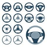 Установленные значки рулевого колеса автомобиля Стоковое Изображение RF