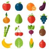 Установленные значки свежих фруктов и овощей плоские Стоковые Фото