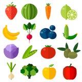 Установленные значки свежих фруктов и овощей плоские Стоковое Изображение RF
