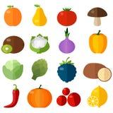 Установленные значки свежих фруктов и овощей плоские Стоковое Изображение